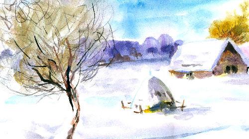 Рисуем акварелью. Зимний этюд