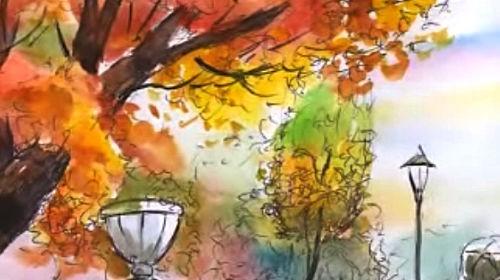Рисуем акварелью. Осенний пейзаж