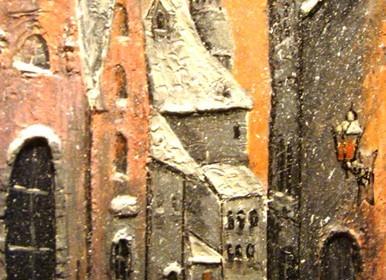 """Объемная живопись. """"Старый город"""" (те самые домики)."""